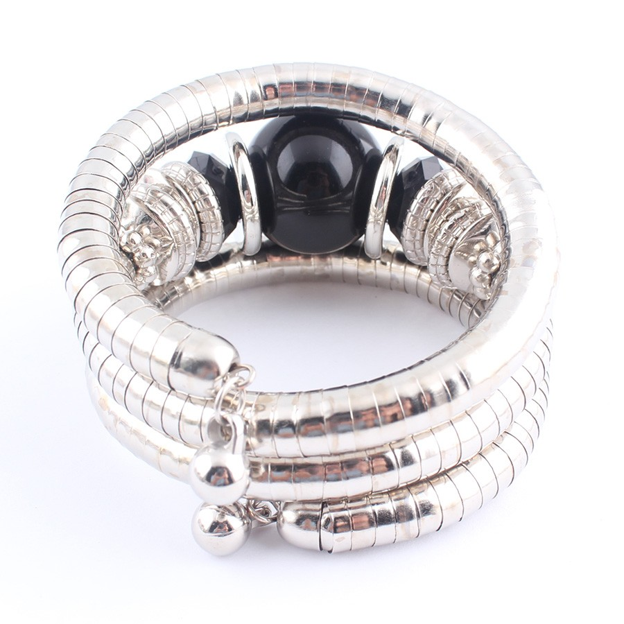 18 Tibetan Silver Snake Bracelets for Women Men Resin Inlay Simulated Pearl Beads Flexible Bangles Pulseras Mujer B581 14