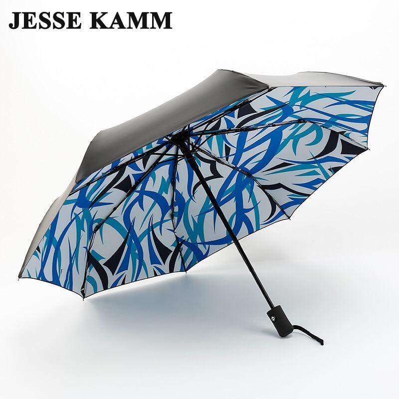 جيسي كام ANTI-UV طوي الشمس الاتفاق النساء الإناث السيدات سيدة يندبروف المطر الأزياء زهرة بالكامل التلقائي فتح المظلات وثيق