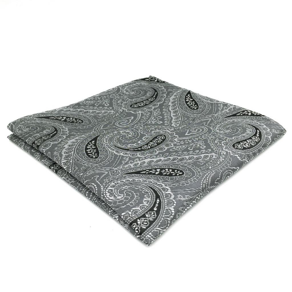 DH30 Men Pocket SquareDark Grey Paisley Silk Classic Dress Novelty Handkerchief Fashion Hanky