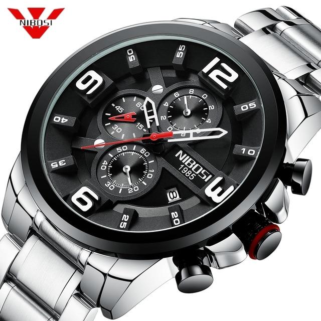 af10d99c37f NIBOSI 2019 Mens Relógios Top De Luxo Da Marca de Quartzo Relógio Criativo  de Aço Inoxidável