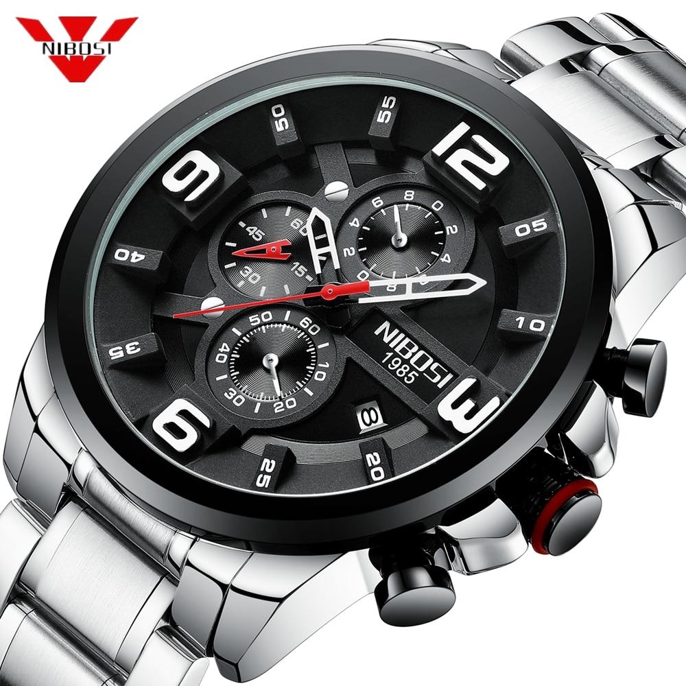 NIBOSI 2019 Mens Watches Luxury Top Brand Quartz Wrist Watch Creative Big Dial Stainless Steel Sport Watch Men Relogio Masculino