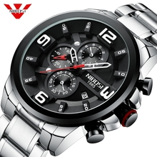 NIBOSI 2019 Mens Watches Luxury Top Brand Quartz Wrist Watch Creative Big Dial Stainless Steel Sport Watch Men Relogio Masculino creative watches men classic luxury black leather dial skeleton sport watches army wrist mechanical watch relogio masculino a1