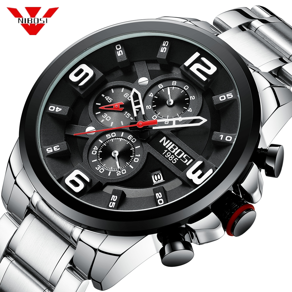 NIBOSI Big Dial Watch Luxury Top Brand Quartz Wristwatches Creative Business Stainless Steel Sports Watch Men Relogio Masculino