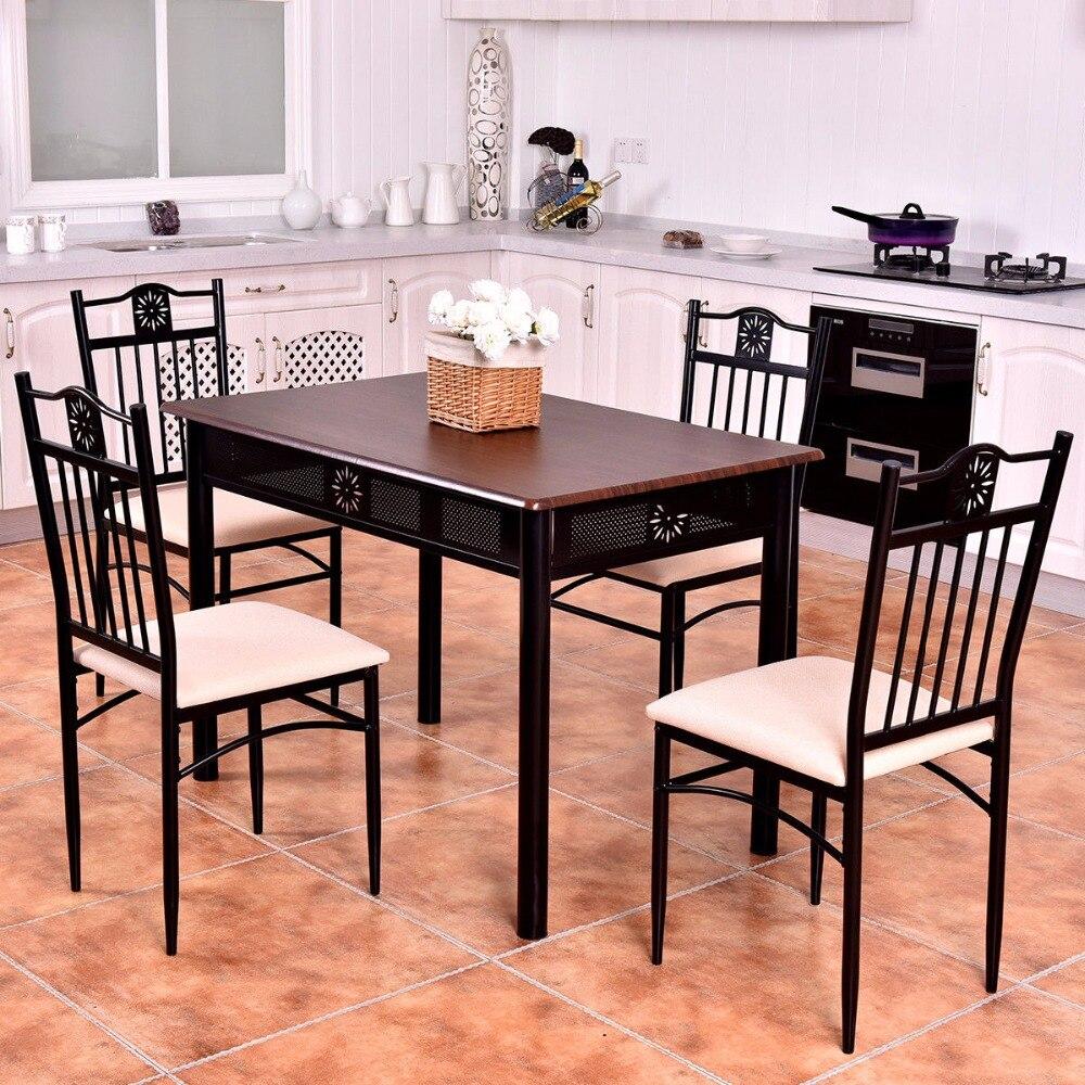 US $194.99  Goplus 5 Pezzi Da Cucina Set Da Pranzo In Legno Da Tavolo In  Metallo e 4 Sedie Da Cucina Colazione Moderna Sala da pranzo Mobili Set ...
