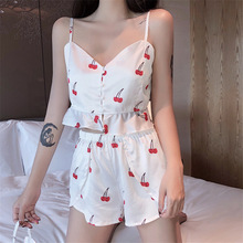 2019 Summer New Women Pajamas Sets with Shorts Sexy Pyjama Satin Flower Print Nightwear Silk Negligee Sleepwear Pyjama