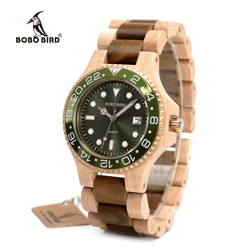 BOBO BIRD WO25 Sparkling Dial Face Men Dress Wooden Quartz Watch with Calendar Display Natural Wood Watches Relogio bobo bird l b08 bamboo wooden watches for men women casual wood dial face 2035 quartz watch silicone strap extra band as gift