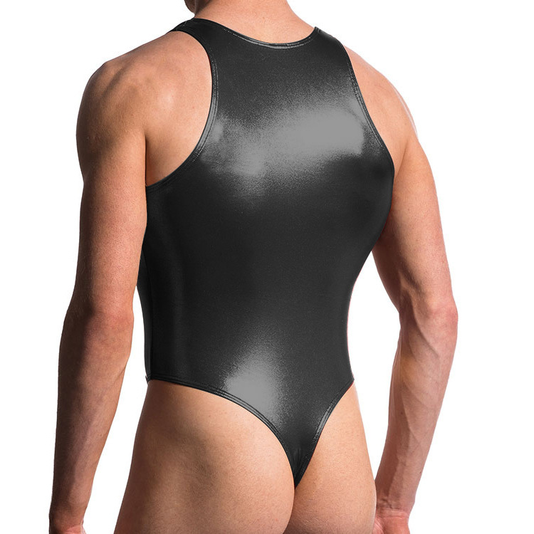 Underwear Shaper Thong Sheer Bodysuit Fitness Faux-Leather Bodybuilding Gay Sexy Fashion title=