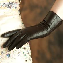 Fashion Short style Women Genuine Leather Gloves Top Quality Goatskin Wrist Warm Winter Female 2319