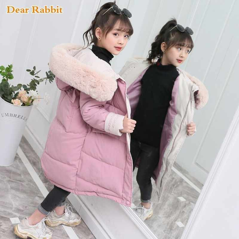 2020 moda dla dzieci zima puchowa kurtka bawełniana dziewczyna odzież dla dzieci odzież ciepła gruba parka futro kołnierz z kapturem długie kurtki 3-14Y