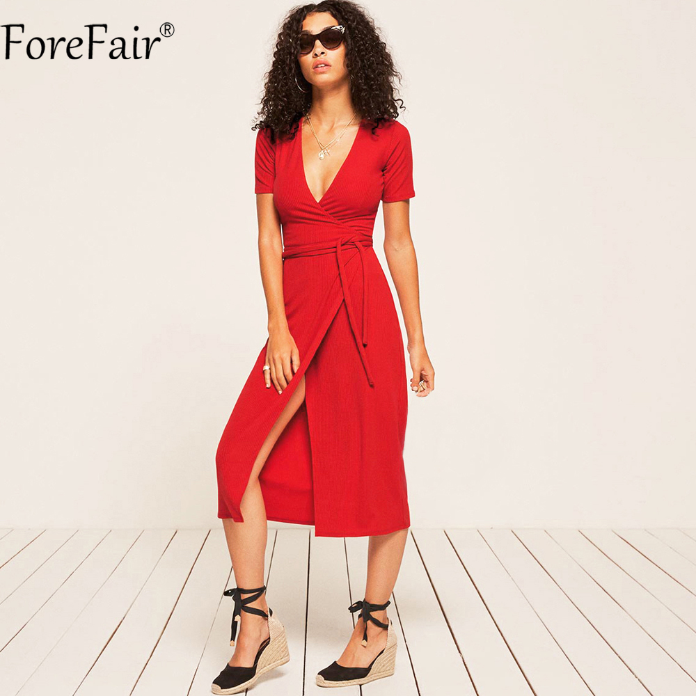 ForeFair Sexy V-neck Split Lace-Up Bodycon Long Dress Black Red Women Short Sleeve Sheath Cotton Knitted Autumn Dress heyivogue v neck short sleeves ruched split front mother of the bride dress 1034