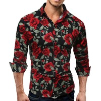 New Men's Long Sleeve Casual Shirt Fashion Rose Flower 3D Printed Floral Shirt Turn down Collar Slim Fit Shirt For Mens Clothing|Casual Shirts| |  -