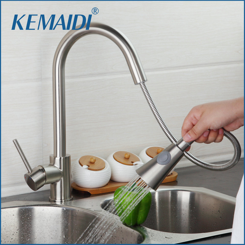 KEMAIDI Perfect Brushed Nickel Solid Brass Kitchen Faucet Pull Out Spray Deck Mounted Sink Mixer Taps Single Handle Faucet kemaidi fashion deluxe kitchen faucet mixer tap deck mounted kitchen faucet nickel brushed brass material kitchen taps
