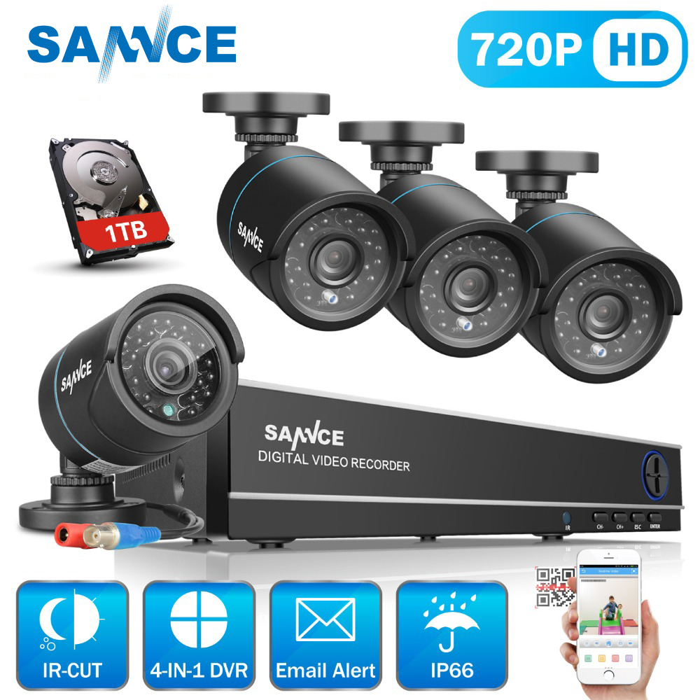 SANNCE 8CH 720P CCTV DVR kit 1080P HDMI CCTV System 4pcs 1200TVL IR Cut Outdoor CCTV Camera Video Survelliance kit 1TB HDD b173rw01 v 3 b173rw01 v3 new 17 3 led wxga glossy hd lcd laptop screen lvds 40pin