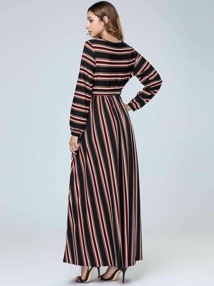 e8f03e0c92 Abaya Dubai Women Muslim Long Dress Striped Bandage Maxi Dresses Bangladesh  Turkish Kaftan Islamic Clothing Plus Size Robe 4XL
