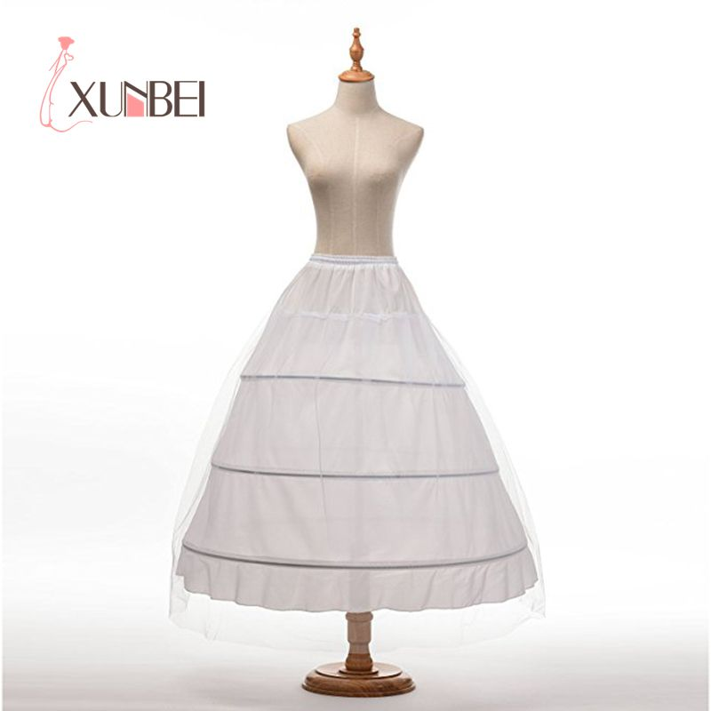 Cheap Ball Gown Wedding Petticoats Black White 3 Hoops Underskirt Crinoline Long Bridal Petticoats Wedding Accessories