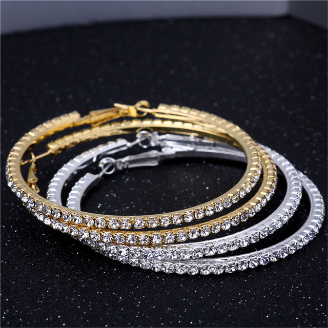 Gold Silver 70mm Single Row Basketball Wives Crystal Rhinestone Hoop Earrings Free Shipping