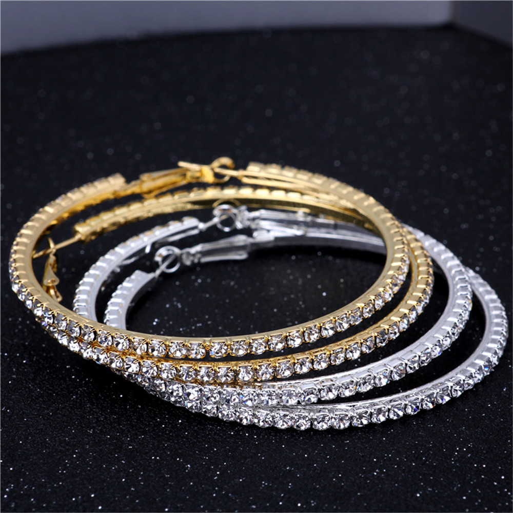 Gold/Silver 70mm Single Row Basketball Wives Crystal Rhinestone Hoop Earrings Free Shipping