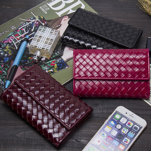 Image 5 - Contacts Classic Sheepskin Weave Women Wallets Purse Female Original Leather Handmade Woman Lamb Leather Wallet Ladies Clutch