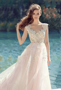 Image 2 - Bow Belt Back Scoop Neckline Illusion Tulle A line Wedding Dress with Lace Appliques Sweep Train Zipper Bridal Dress