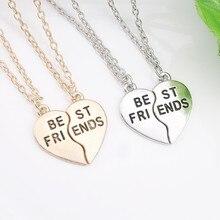 Best Friends Necklaces for Women Vintage Silver Broken Heart Necklace Best friends BFF Necklace&Pendants Collier Choker Collares цена