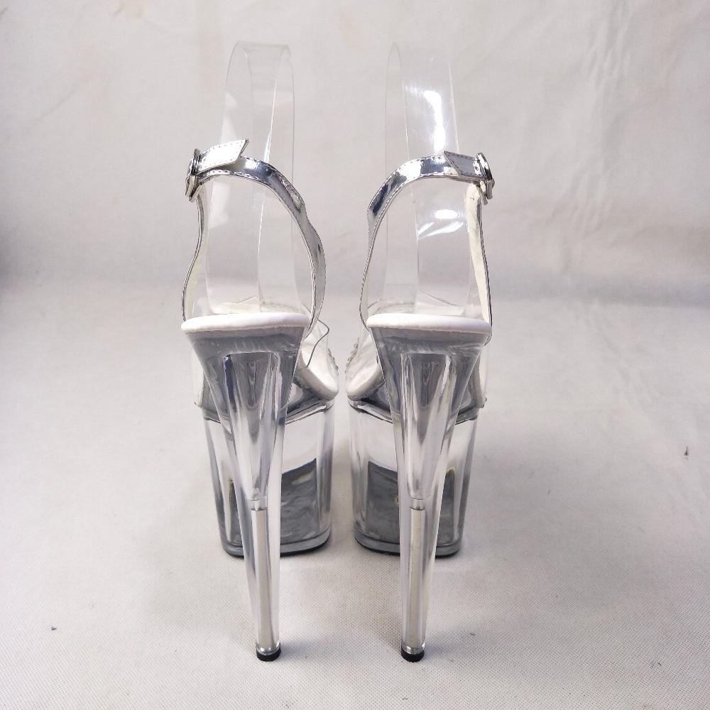 Sexy Dance Zapatos Claro Talones Sandalias Plata Del Cristal De Pole Cm Plataformas Pescador Talón Más Rhinestone 20 Club Nuevo Alto v4E1q1