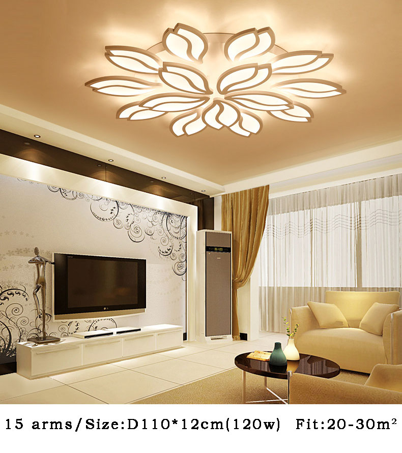 Details About White Modern LED Ceiling Lamp Lotus Flower Pendant Lighting  Bedroom Acrylic