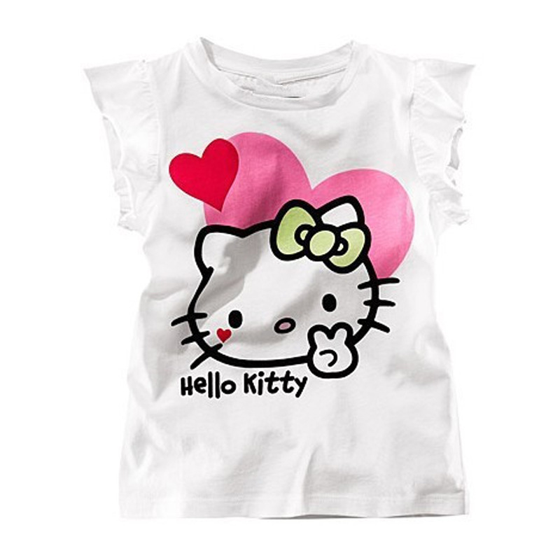 2-5T Baby girls T shirt sleeveless hello kitty carton hot selling brand children clothes cute casual kids tops tees