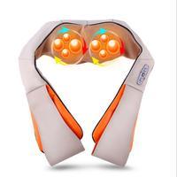 MOONBIFFY U Shape Electrical Shiatsu Back Neck Shoulder Body Massager Infrared Heated Kneading Car/Home Massagem