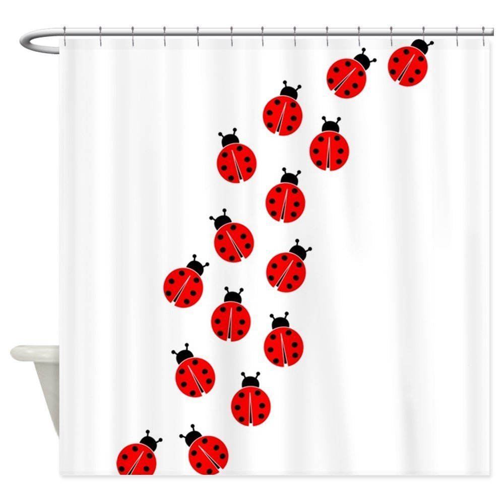 Memory Home New Bathroom Decor Red Ladybug Line White Shower Curtain 100 Polyester Fabric Waterproof