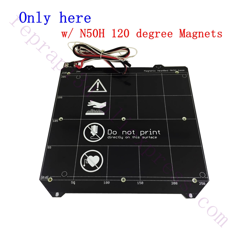 High Quality Clone Y carriage Magnetic PCB Heated Bed MK52 Heatbed 24V W/ N50H Magnet Cable assembly F/ Prusa i3 MK3 3D Printer