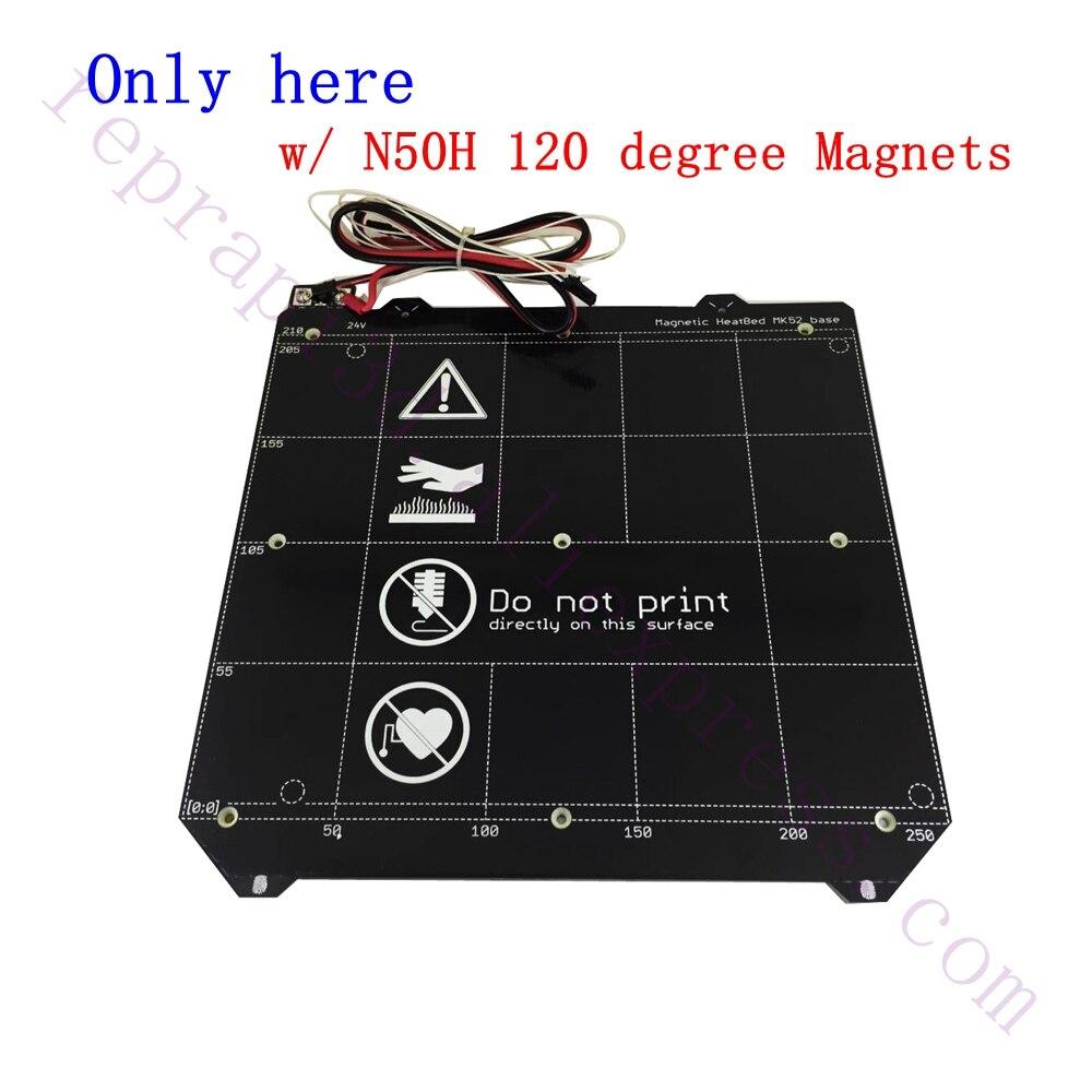 Qualité supérieure Clone Y transport Magnétique PCB Chauffée Lit MK52 Heatbed 24 V W/N50H Aimant ensemble de câbles F/Prusa i3 MK3 3D Imprimante