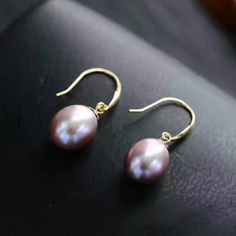 natural purple pearl drop earrings 18k yellow gold women Elegant simple fashion drop Earrings for party water drop faux pearl drop earrings