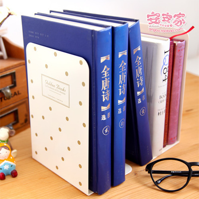 2pcsPair Korea Brief Elegant Black White Office Bookends Metal