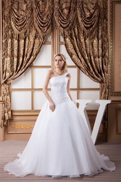 2016 of elegant and generous One shoulder Satin A Line Sleeveless ...