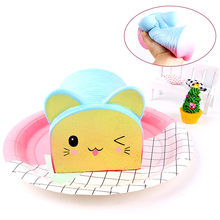 Squishy Selling Rainbow Cat Head Bread Slow Rebound Children's Vent Squeeze Toys Stress Relief Toy Antistress Kids Toys 3.30(China)