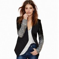 New 2016 Slim Women Pu Patchwork Black Silver Sequins Jackets Full Sleeve Fashion Spring Coat For