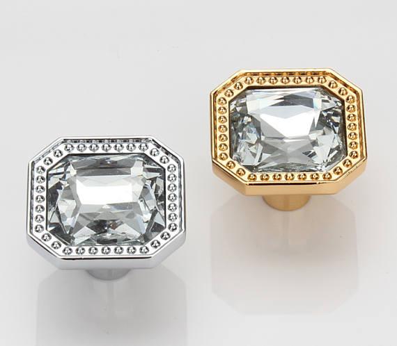 Sparkle Glass Knobs Crystal Dresser Drawer Knobs Pulls Handles Gold Silver Clear Square / Modern Cabinet Knobs Pull Handle css clear crystal glass cabinet drawer door knobs handles 30mm