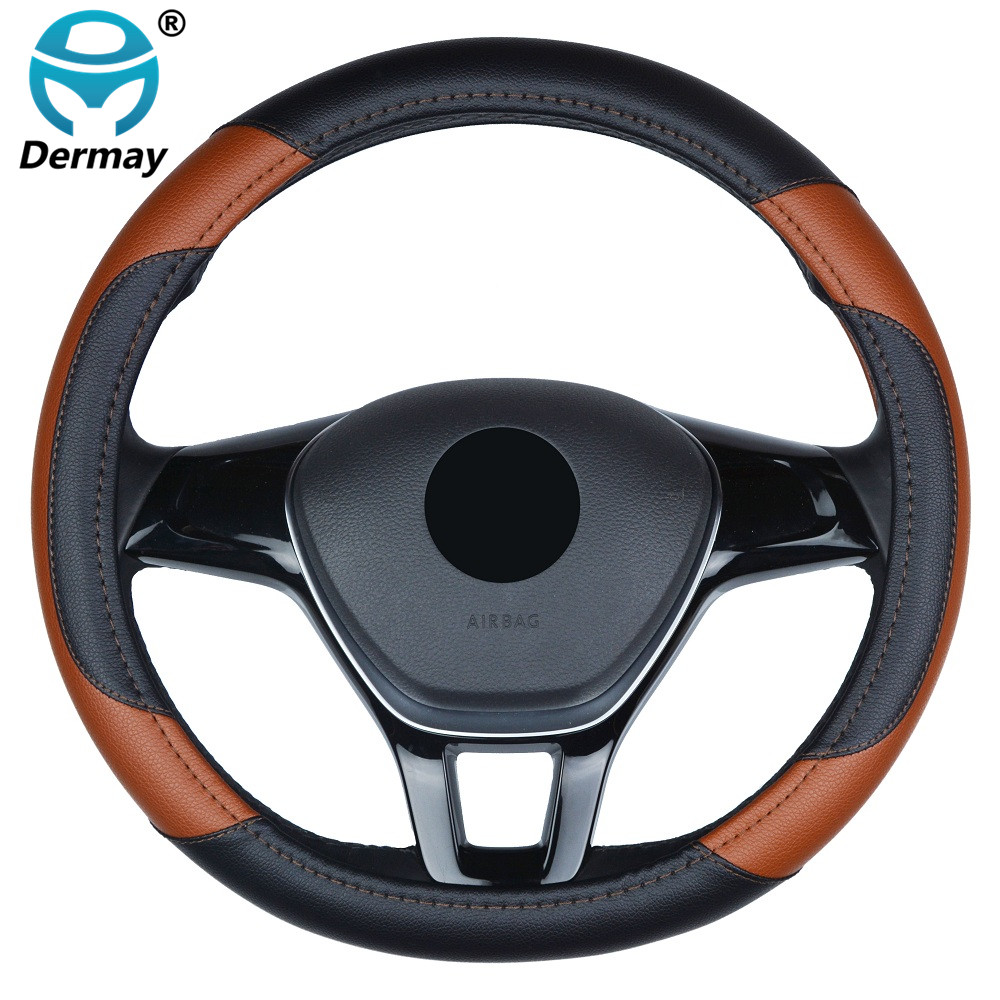 "Car Styling High-grade PU leather Steering Wheel Cover Protection 38CM/15"" Universal Anti-slip Four Seasons General for KIA VW"