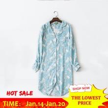 Cotton Long Sleeve Print Women Sleepwear Pattern Irregular Button Turn Down Collar Women s Nightie 2018