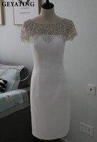 Świecący Kryształ Zroszony Białe Krótkie Sukienki Koktajlowe 2017 Robe de soiree Tanie Kolano Długość Sukienka Vestido coquetel Party Suknie
