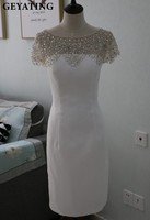 Sparkly Crystal Beaded White Short Cocktail Dresses 2017 Robe De Soiree Cheap Knee Length Dress Vestido