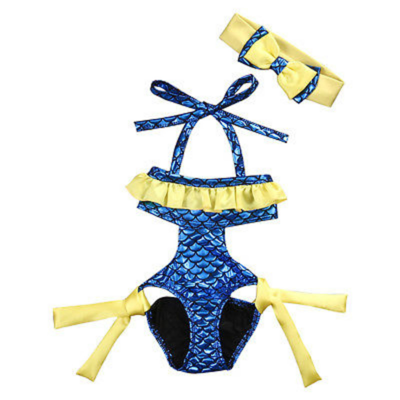 0-8Y Toddler Baby Girls Kids Dory Ruffles Halter One Piece Bikini Headband 2PCS Set Swimsuit Swimwear Bathing Suit Beachwear New