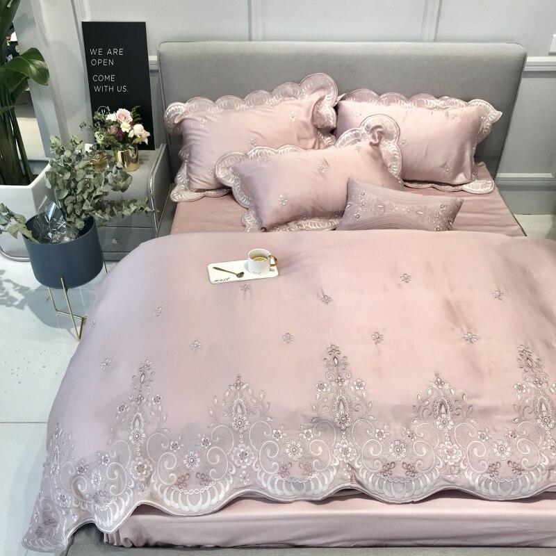 80 s прекрасно Тенсел розовый изысканные кружева вышивка роскошные Постельное белье queen King Размеры пододеяльник постельное белье лист навол