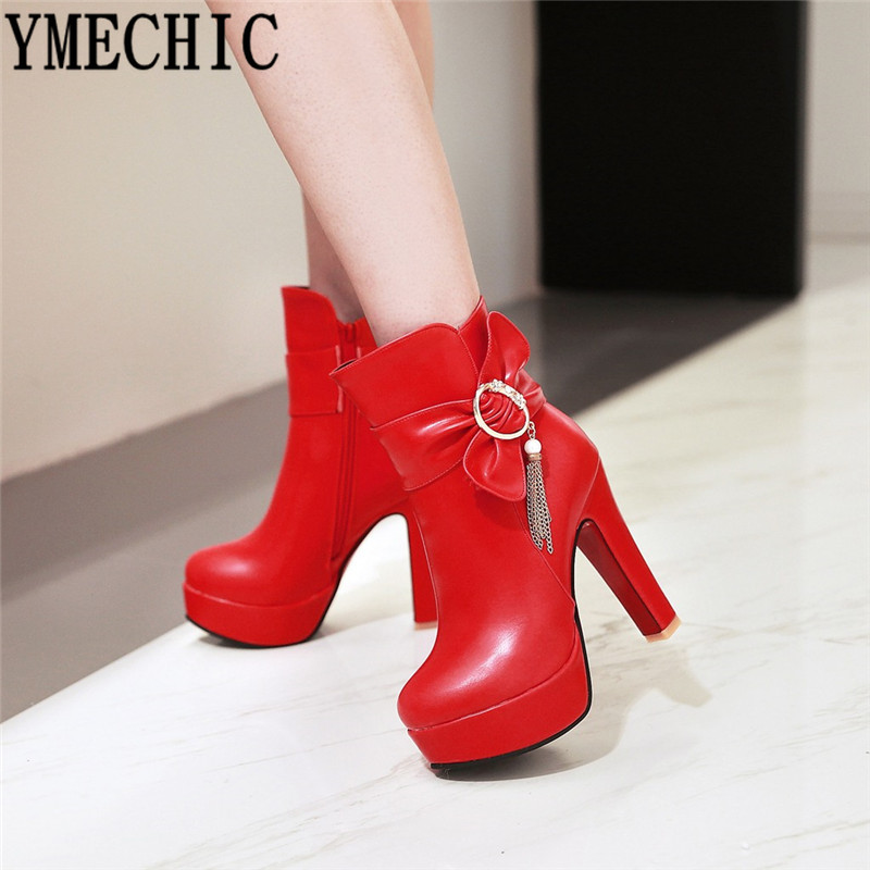 YMECHIC Red White Black Party Wedding Ladies Shoes High Heels Platform Butterfly-knot Platform Chain Womens Ankle Boots Footwear
