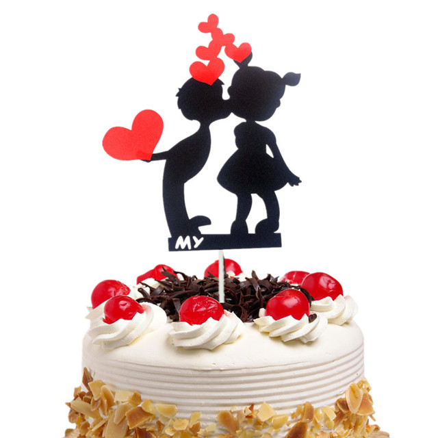 DIY Birthday Wedding Cake Topper Black With Red Hearts Flags Boy Girl Party Baking Decor