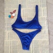 RoyaL Blue Swimwear Women Push-Up Padded Bra Velvet Bikinis Crop Top Wire Free Ladies Low Waist Bikini Set Swimsuit Beachwear