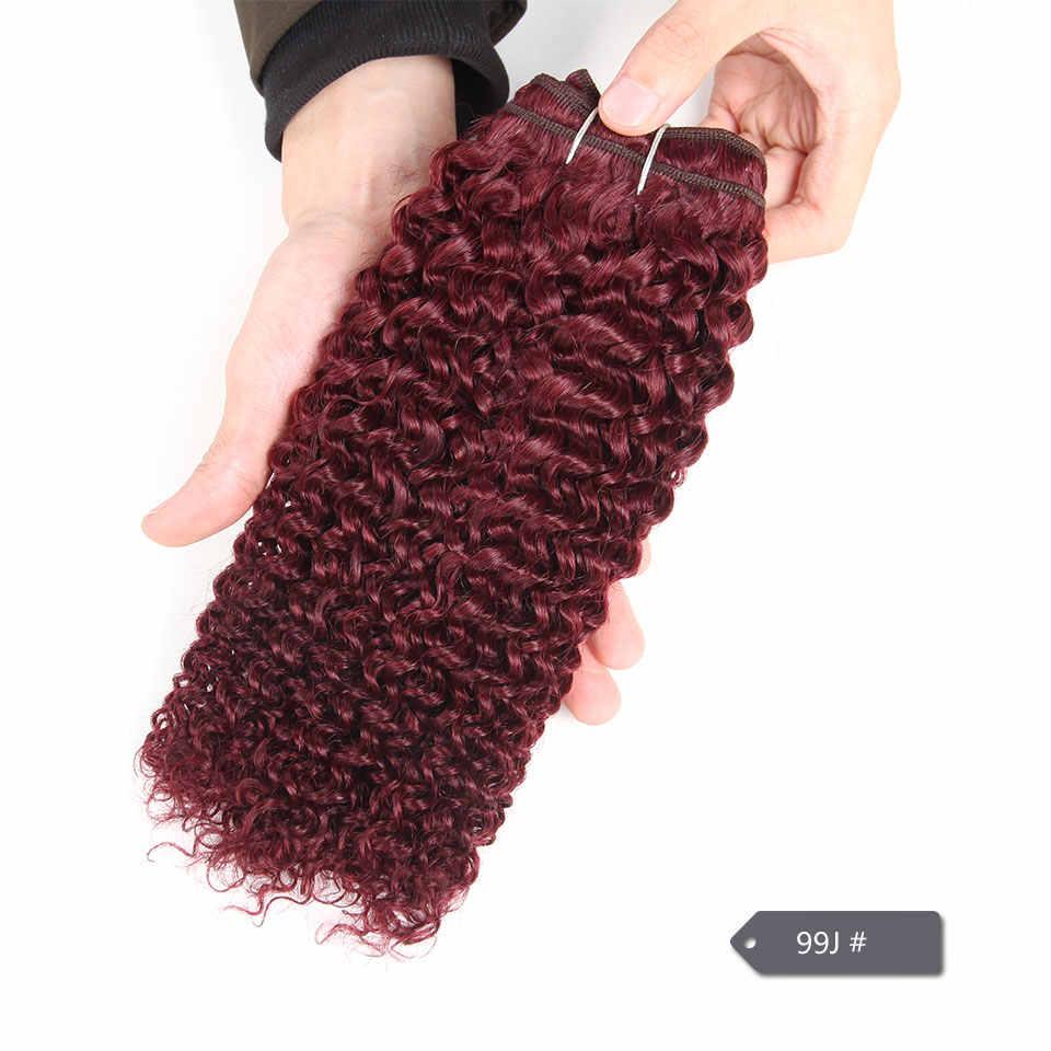 Sleek бразильский волос Weave Связки предложения чешского Curl предварительно цветные 99j Burgundy Red наращивание волос 100 г цельнокроеное платье только