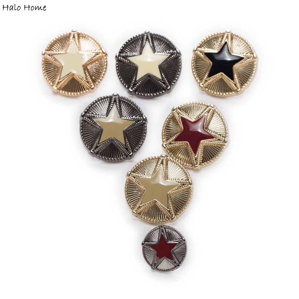 5pcs Star Metal Buttons Round Coat Clothing Sewing Fashion Decor Replace Diy Optional Sewing Garment Supplies Accessory 15-23mm