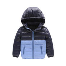 2017 new style 3-10 year children Down jacket Lightweight models boy girl Removable cap Splicing color Winter coat