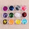 12 Colores/Set 12 Tarros De Uñas Brillo Del Arte Forma De Diamante Láser Holográfica Lentejuelas Brillo de Color Para El Arte Del Clavo 3D decoraciones
